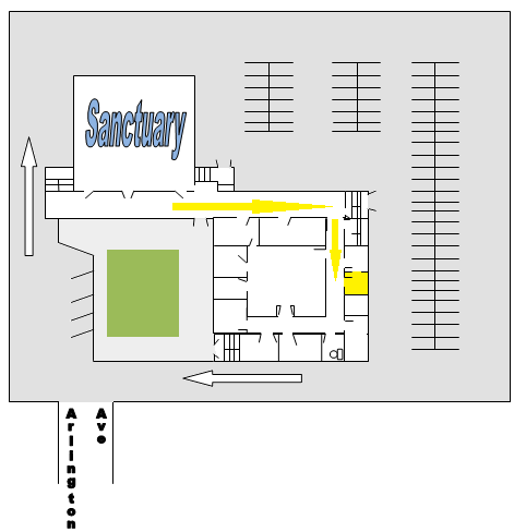 Church layout                     showing the Jr Church room location in relation to the Sanctuary