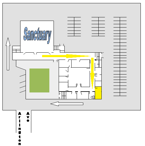 Church layout showing the nursery in relation to the Sanctuary